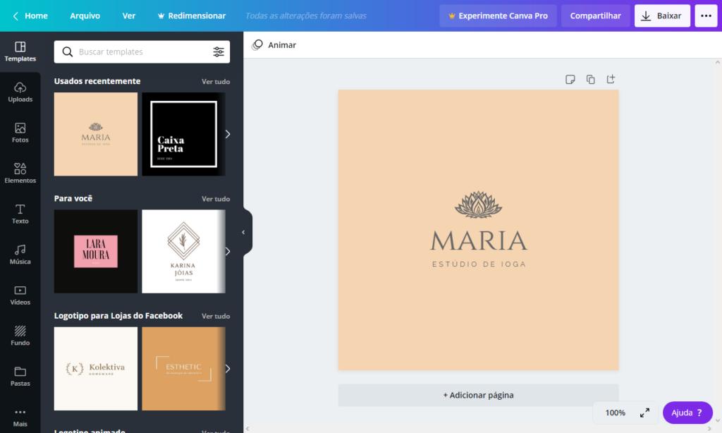 Editando seu logotipo - Criar logotipo grátis