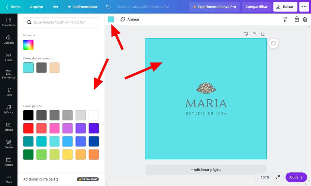 Testando cores para seu logotipo - Criar logotipo grátis