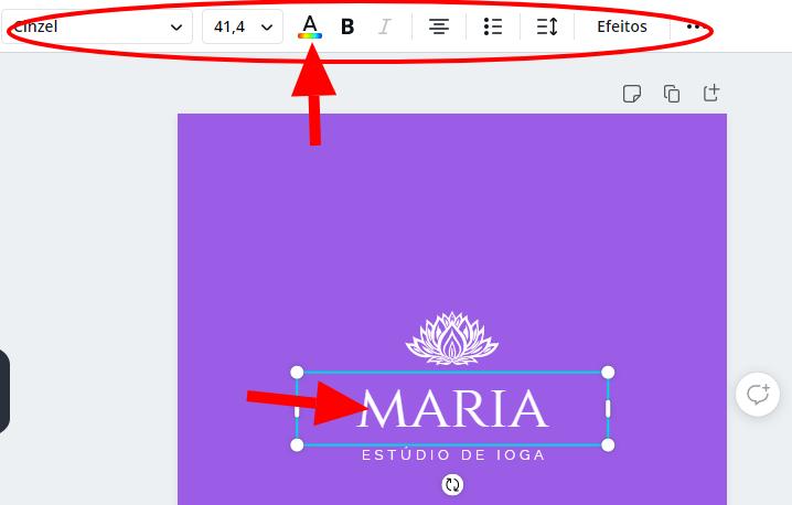 Editando textos do seu logotipo - Criar logotipo grátis