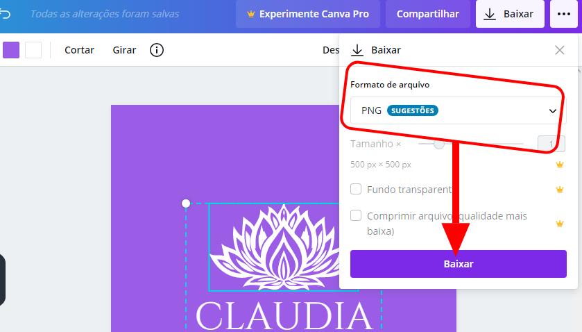 Exportando seu logotipo no Canva - Criar logotipo grátis