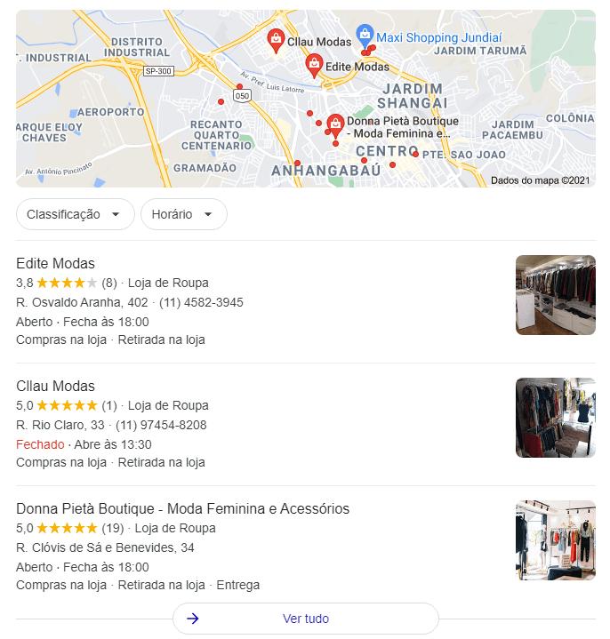 Pacote local do Google Meu Negócio