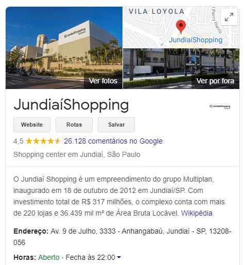 Painel de conhecimento do Google Meu Negócio